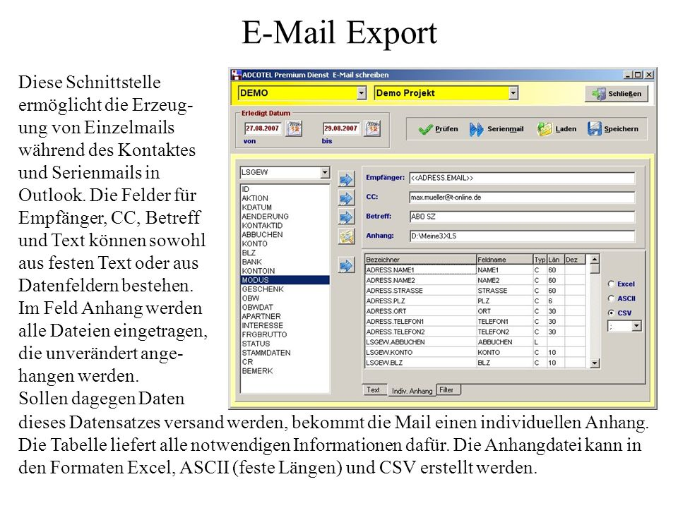 E-Mail Export