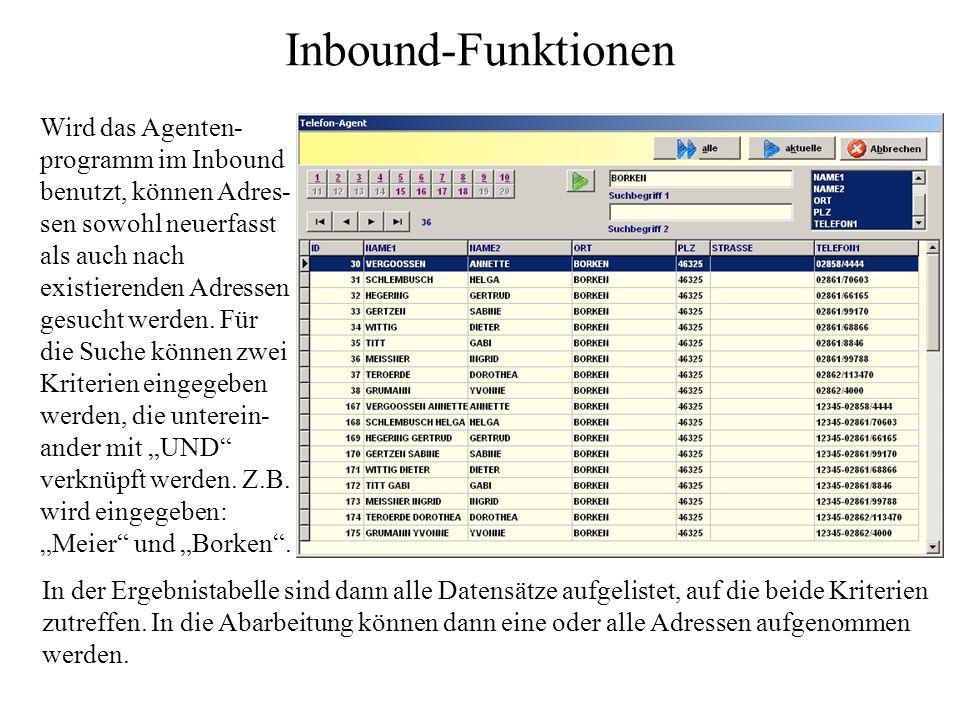 Inbound-Funktionen