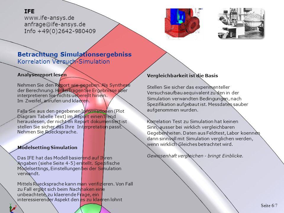 Betrachtung Simulationsergebniss Korrelation Versuch-Simulation