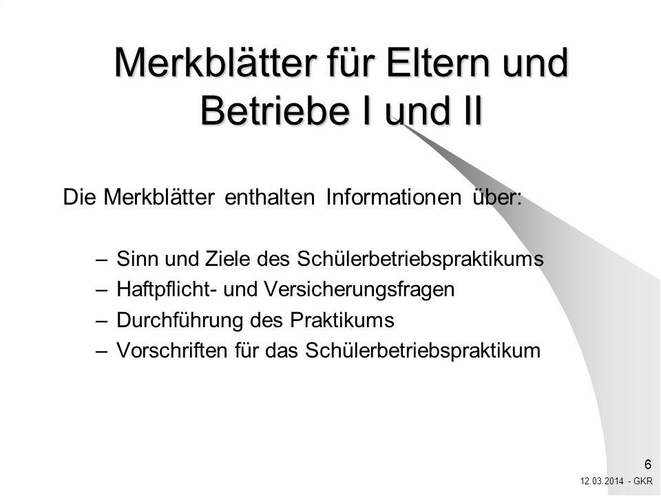 Merkblätter für Eltern und Betriebe I und II