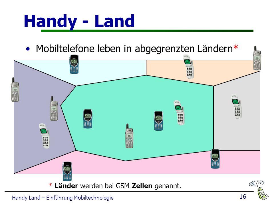 Handy - Land Mobiltelefone leben in abgegrenzten Ländern*