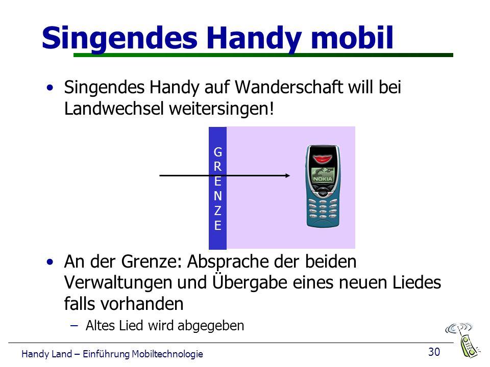 Singendes Handy mobil Singendes Handy auf Wanderschaft will bei Landwechsel weitersingen!