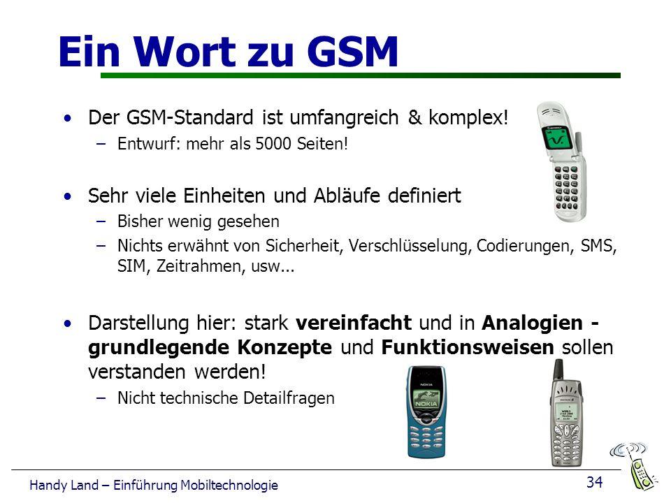 Ein Wort zu GSM Der GSM-Standard ist umfangreich & komplex!