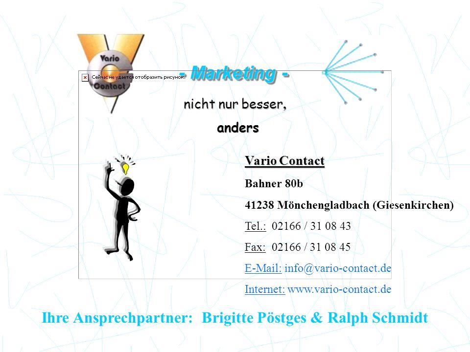 Ihre Ansprechpartner: Brigitte Pöstges & Ralph Schmidt