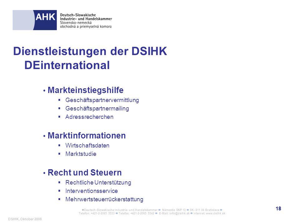 Dienstleistungen der DSIHK DEinternational