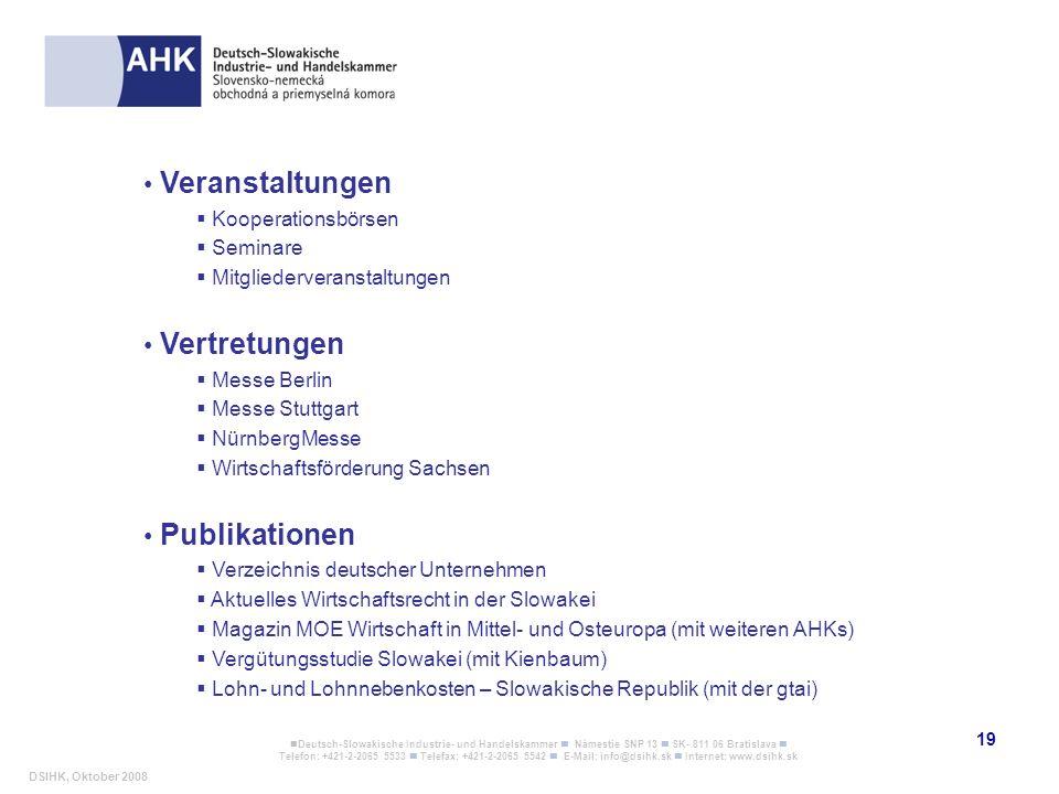 Veranstaltungen Vertretungen Publikationen Kooperationsbörsen Seminare