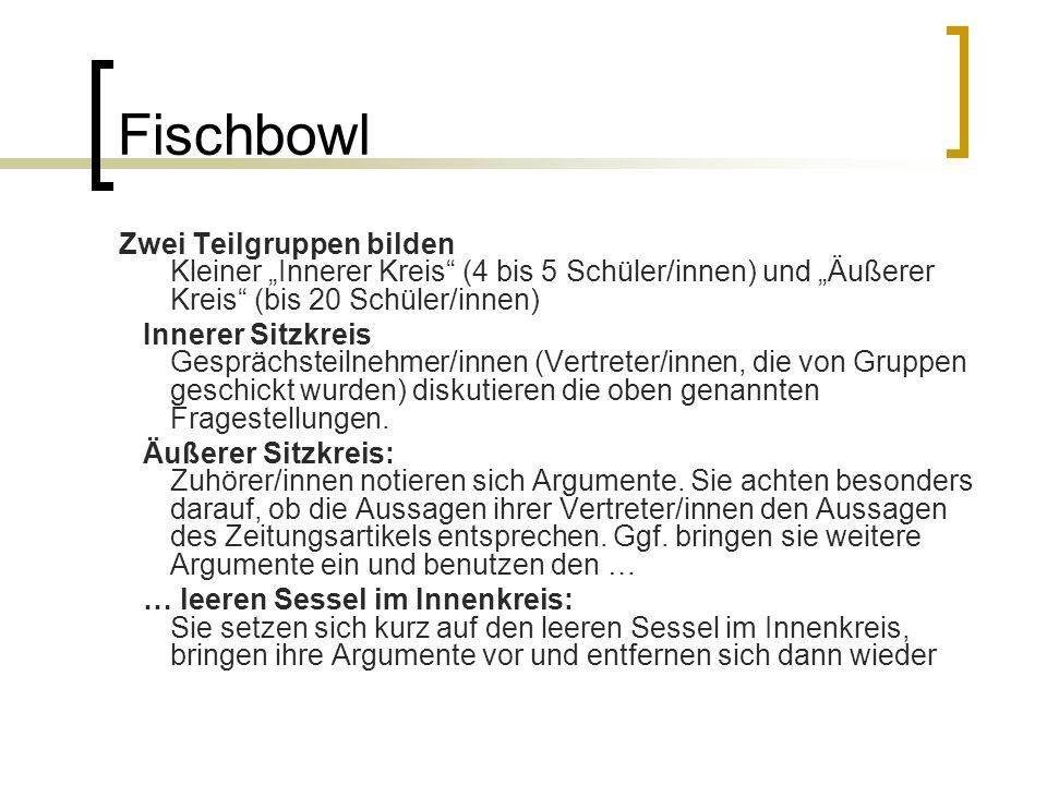 """Fischbowl Zwei Teilgruppen bilden Kleiner """"Innerer Kreis (4 bis 5 Schüler/innen) und """"Äußerer Kreis (bis 20 Schüler/innen)"""