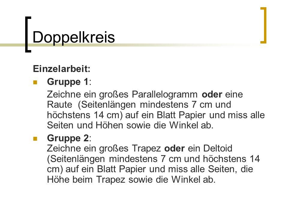 Doppelkreis Einzelarbeit: Gruppe 1: