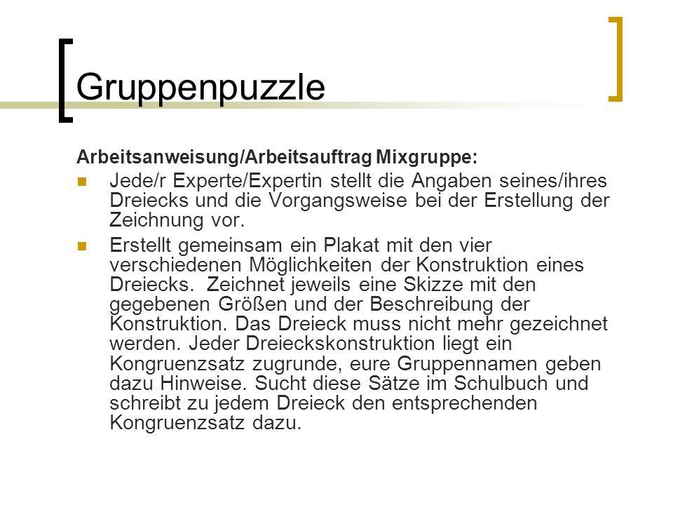 Gruppenpuzzle Arbeitsanweisung/Arbeitsauftrag Mixgruppe:
