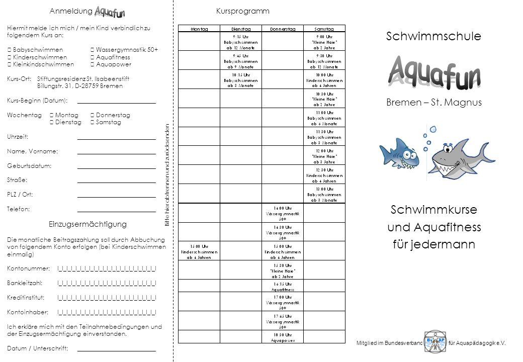 Aquafun Schwimmschule Schwimmkurse und Aquafitness für jedermann