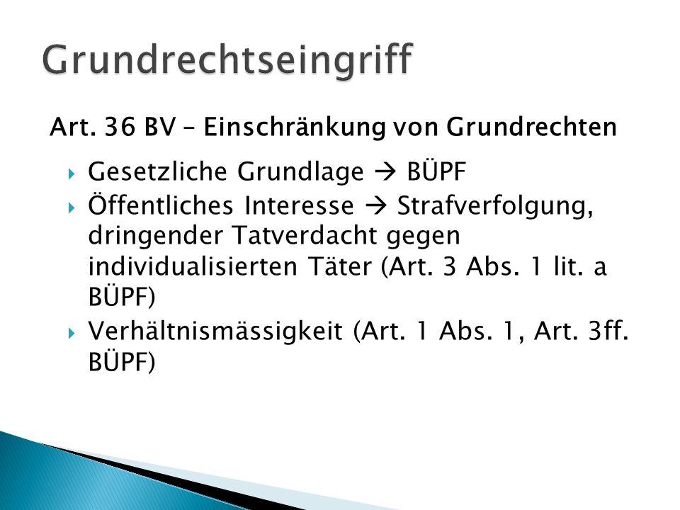 Grundrechtseingriff Art. 36 BV – Einschränkung von Grundrechten