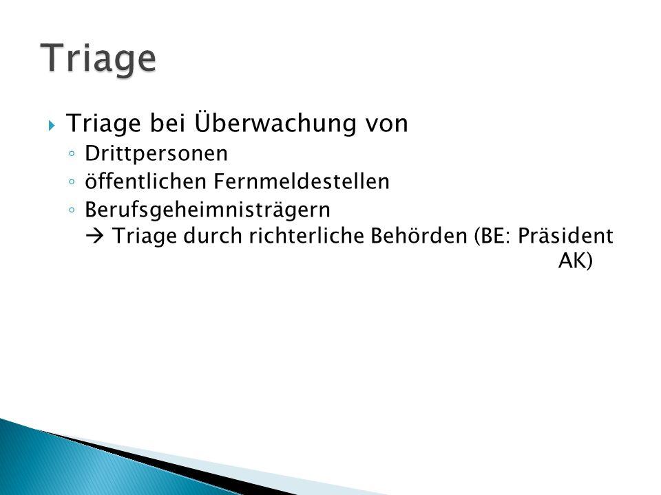 Triage Triage bei Überwachung von Drittpersonen