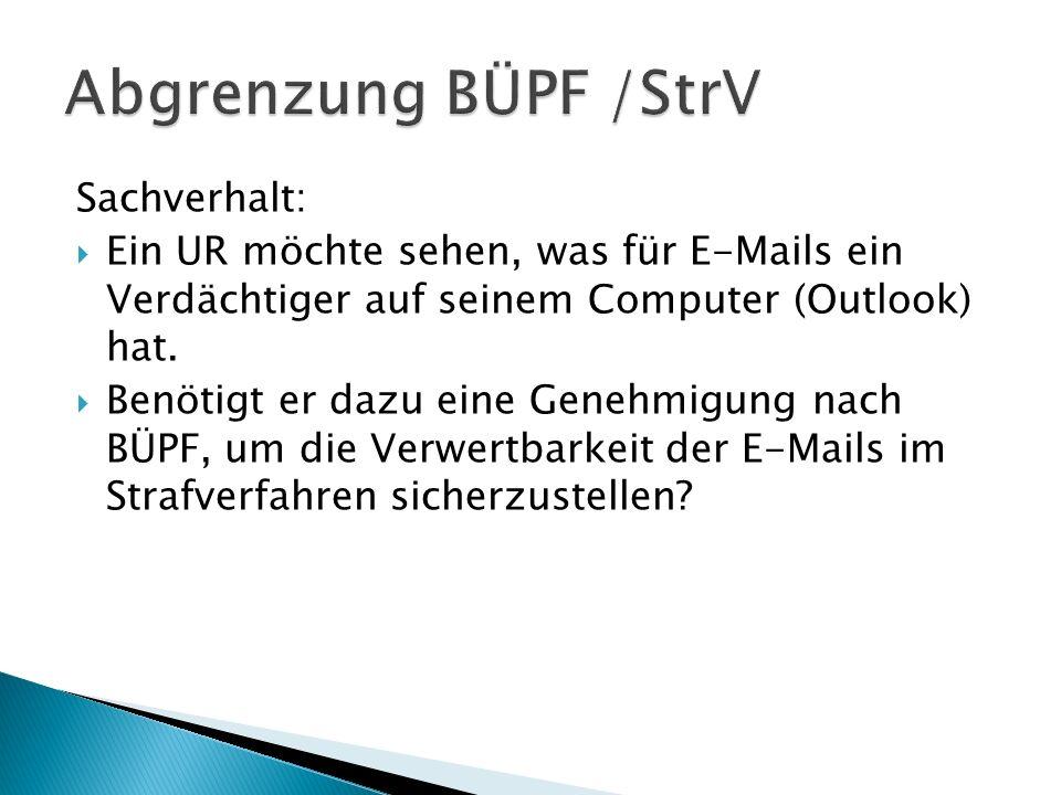 Abgrenzung BÜPF /StrV Sachverhalt: