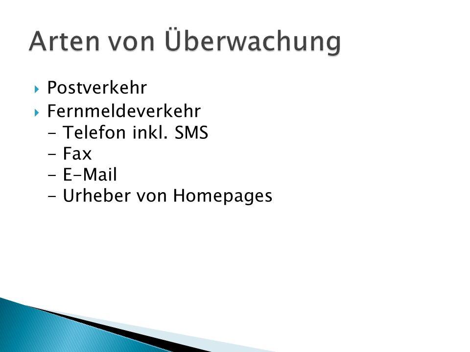 Arten von Überwachung Postverkehr