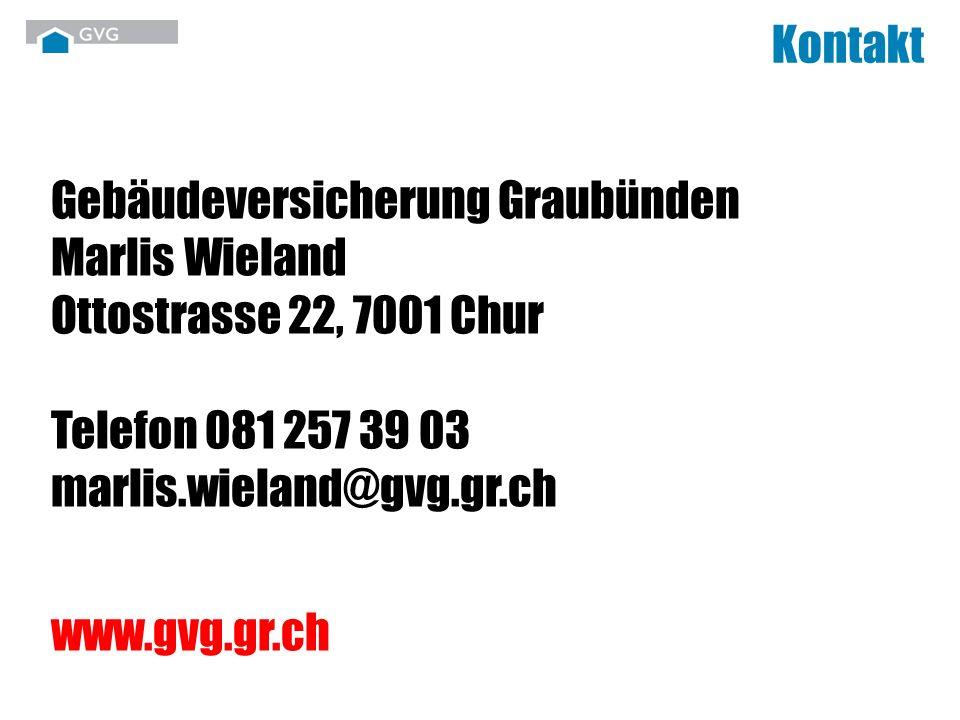 Kontakt Gebäudeversicherung Graubünden Marlis Wieland Ottostrasse 22, 7001 Chur Telefon 081 257 39 03 marlis.wieland@gvg.gr.ch.