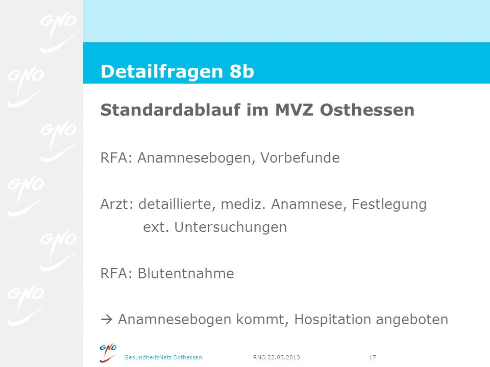 Detailfragen 8b Standardablauf im MVZ Osthessen