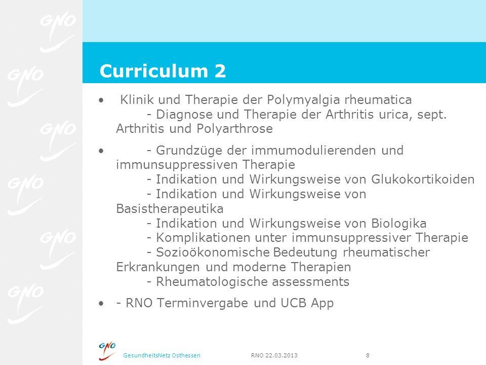 Curriculum 2 Klinik und Therapie der Polymyalgia rheumatica - Diagnose und Therapie der Arthritis urica, sept. Arthritis und Polyarthrose.