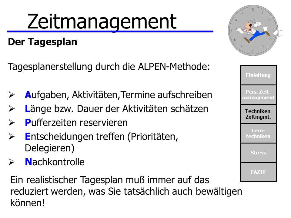 Zeitmanagement Der Tagesplan