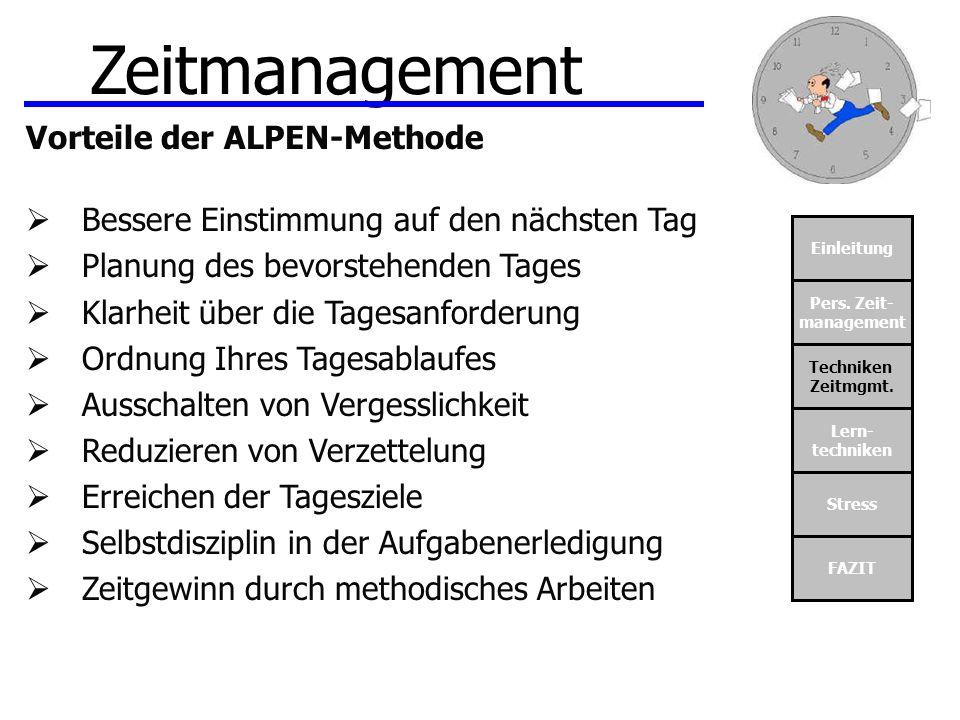 Zeitmanagement Vorteile der ALPEN-Methode