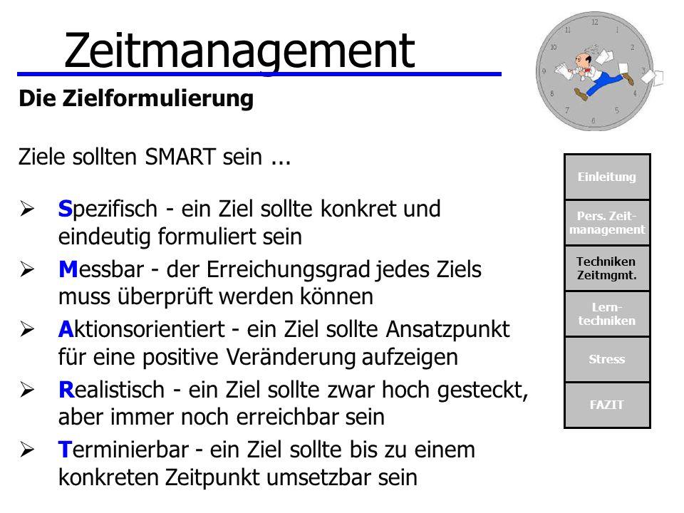 Zeitmanagement Die Zielformulierung Ziele sollten SMART sein ...