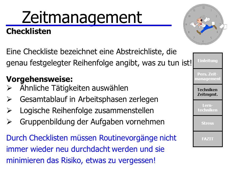 Zeitmanagement Checklisten