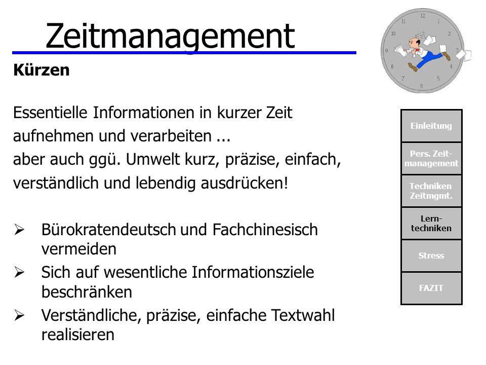 Zeitmanagement Kürzen Essentielle Informationen in kurzer Zeit