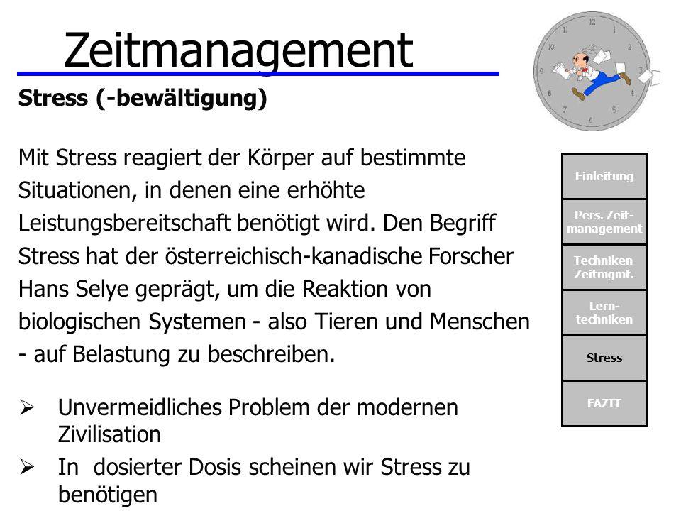 Zeitmanagement Stress (-bewältigung)