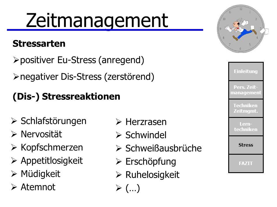 Zeitmanagement Stressarten positiver Eu-Stress (anregend)
