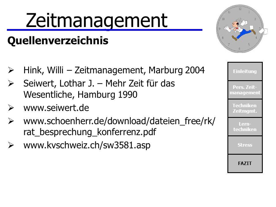 Zeitmanagement Quellenverzeichnis