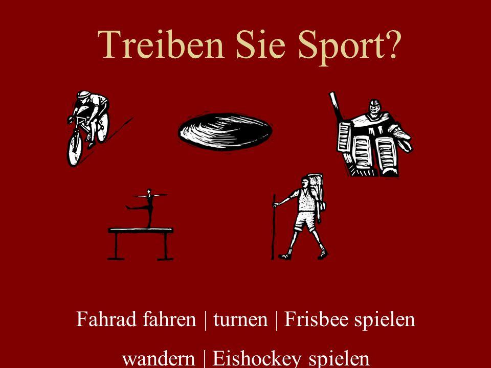 Treiben Sie Sport Fahrad fahren   turnen   Frisbee spielen
