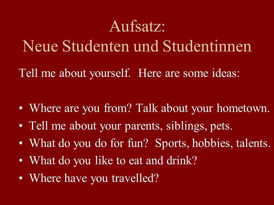 Aufsatz: Neue Studenten und Studentinnen