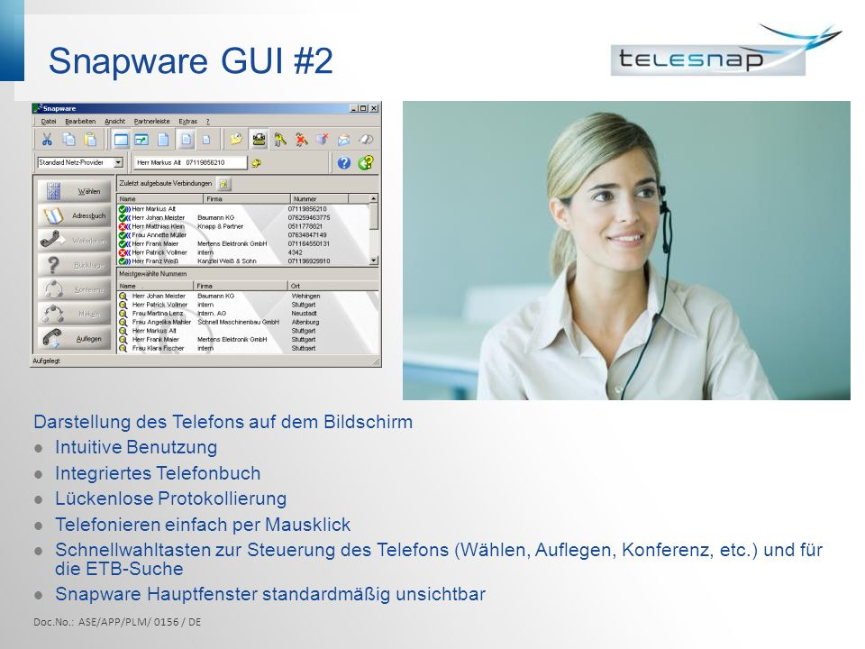Snapware GUI #2 Darstellung des Telefons auf dem Bildschirm
