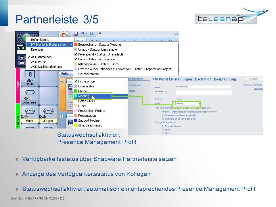 Partnerleiste 3/5 Statuswechsel aktiviert Presence Management Profil