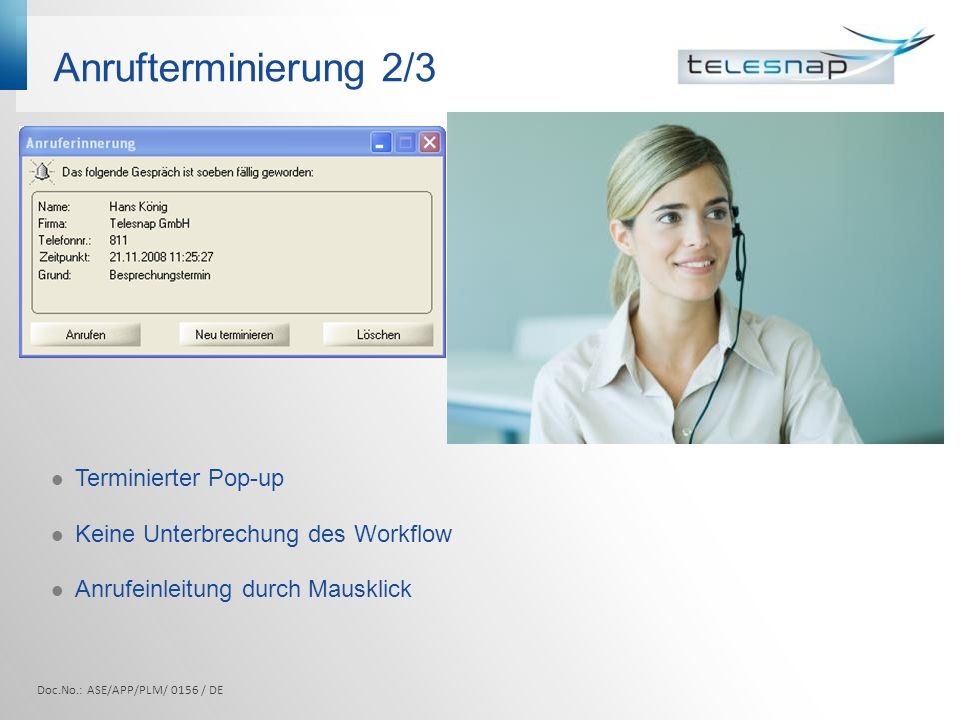 Anrufterminierung 2/3 Terminierter Pop-up