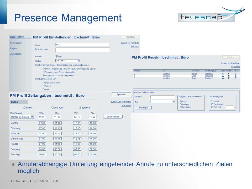 Presence Management Anruferabhängige Umleitung eingehender Anrufe zu unterschiedlichen Zielen möglich.