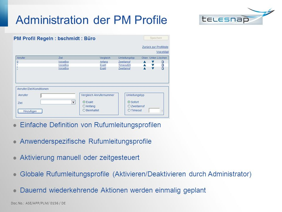 Administration der PM Profile