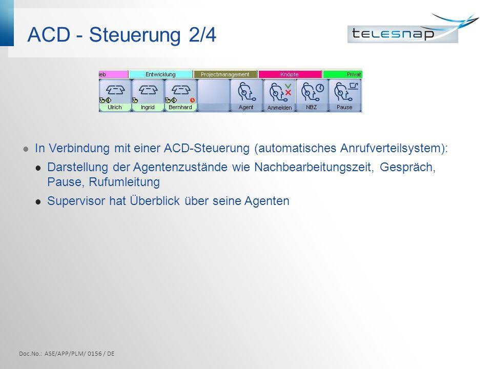 ACD - Steuerung 2/4 In Verbindung mit einer ACD-Steuerung (automatisches Anrufverteilsystem):