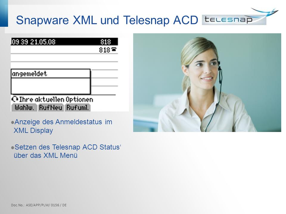 Snapware XML und Telesnap ACD