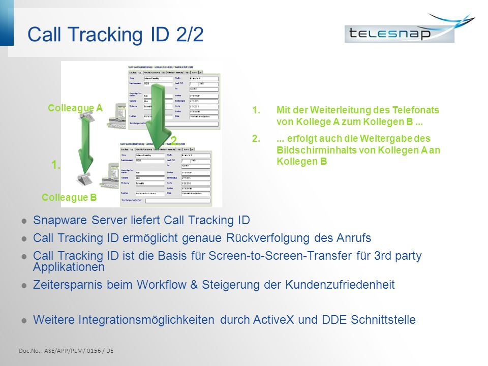 Call Tracking ID 2/ Snapware Server liefert Call Tracking ID