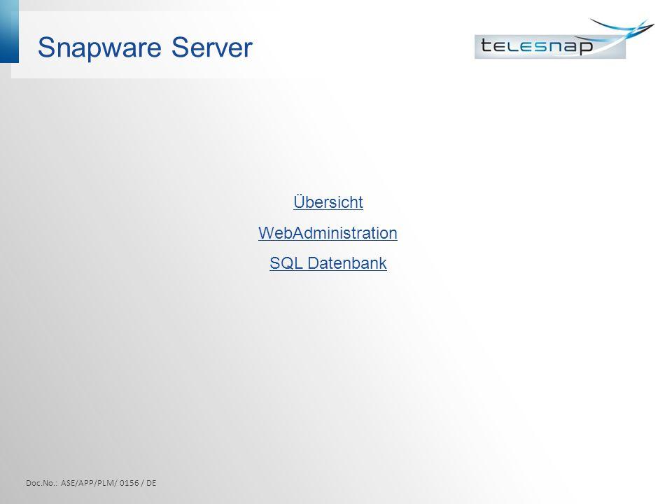 Snapware Server Übersicht WebAdministration SQL Datenbank