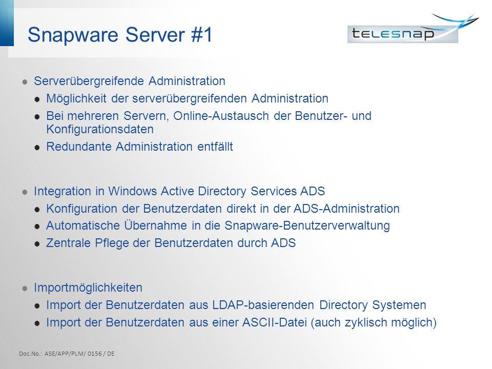 Snapware Server #1 Serverübergreifende Administration