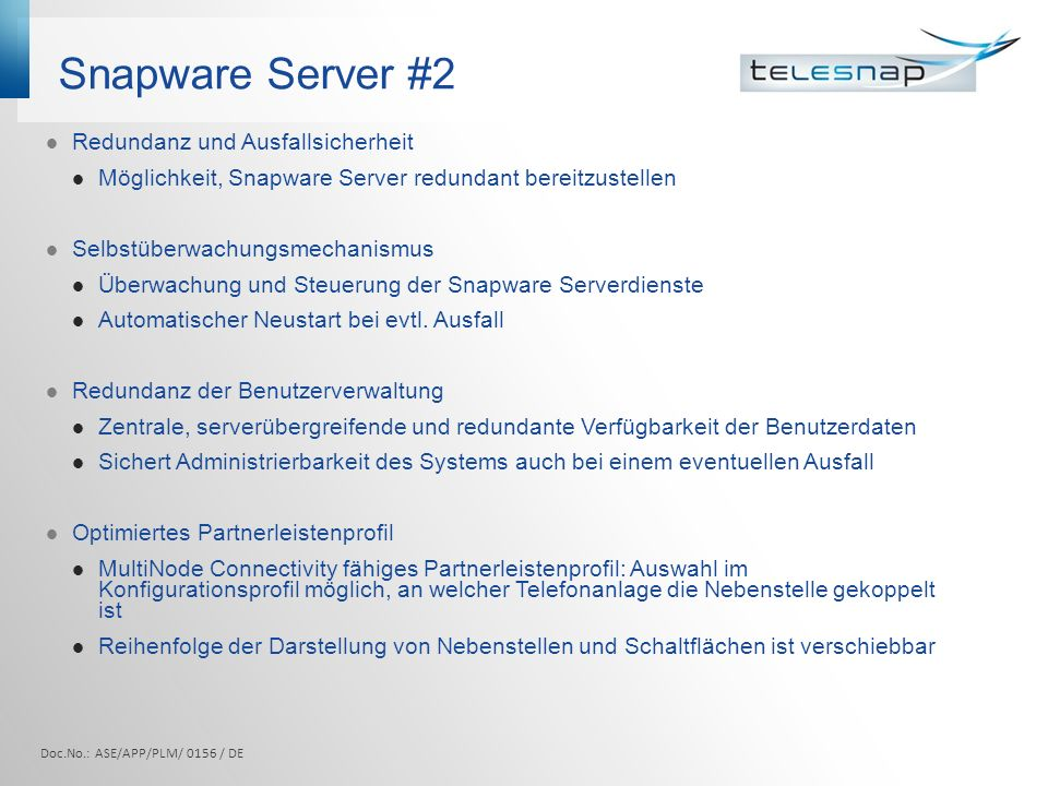 Snapware Server #2 Redundanz und Ausfallsicherheit