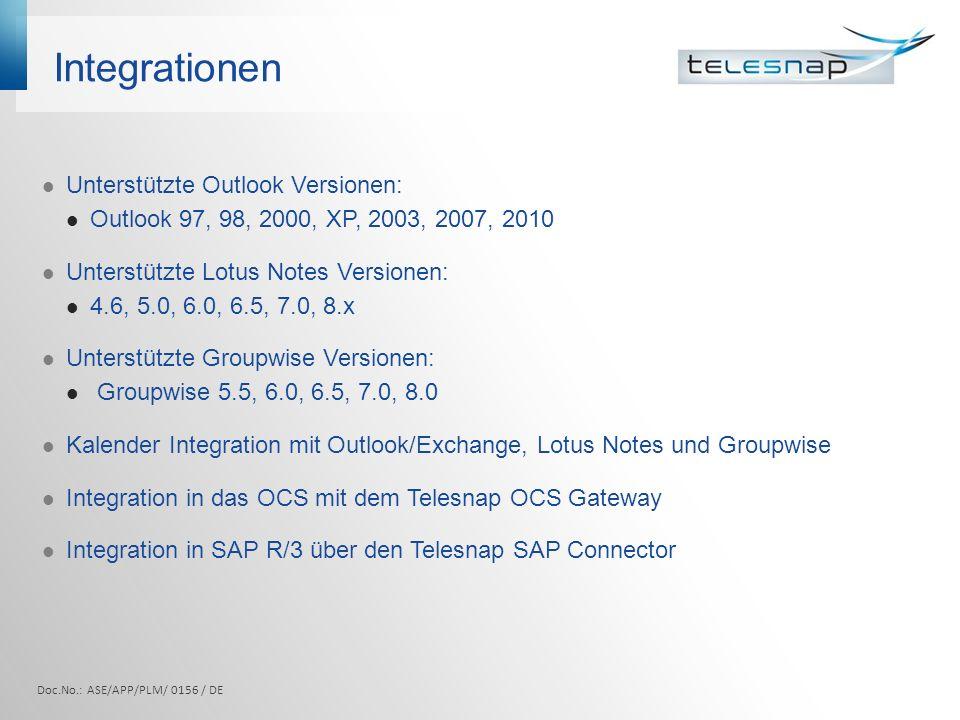 Integrationen Unterstützte Outlook Versionen:
