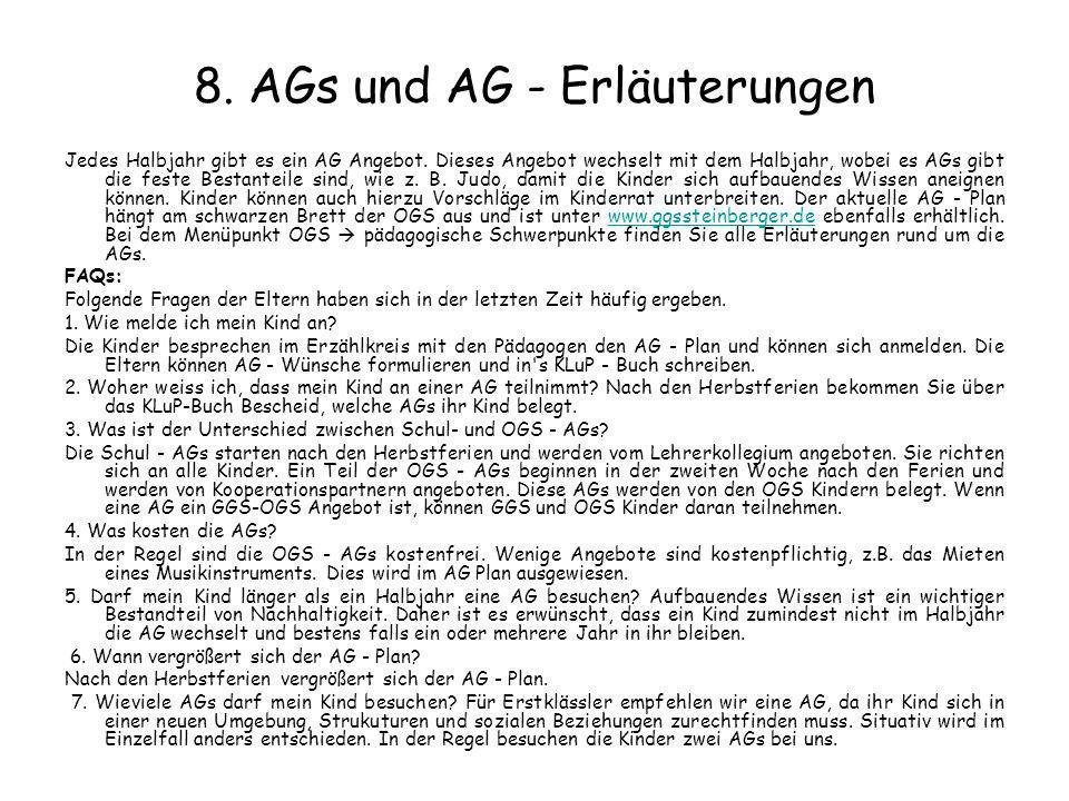 8. AGs und AG - Erläuterungen