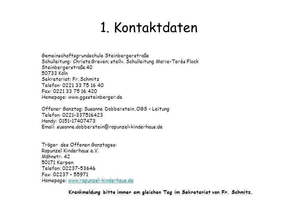 1. Kontaktdaten Gemeinschaftsgrundschule Steinbergerstraße