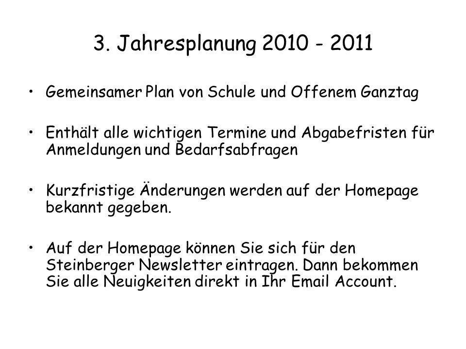 3. Jahresplanung 2010 - 2011 Gemeinsamer Plan von Schule und Offenem Ganztag.