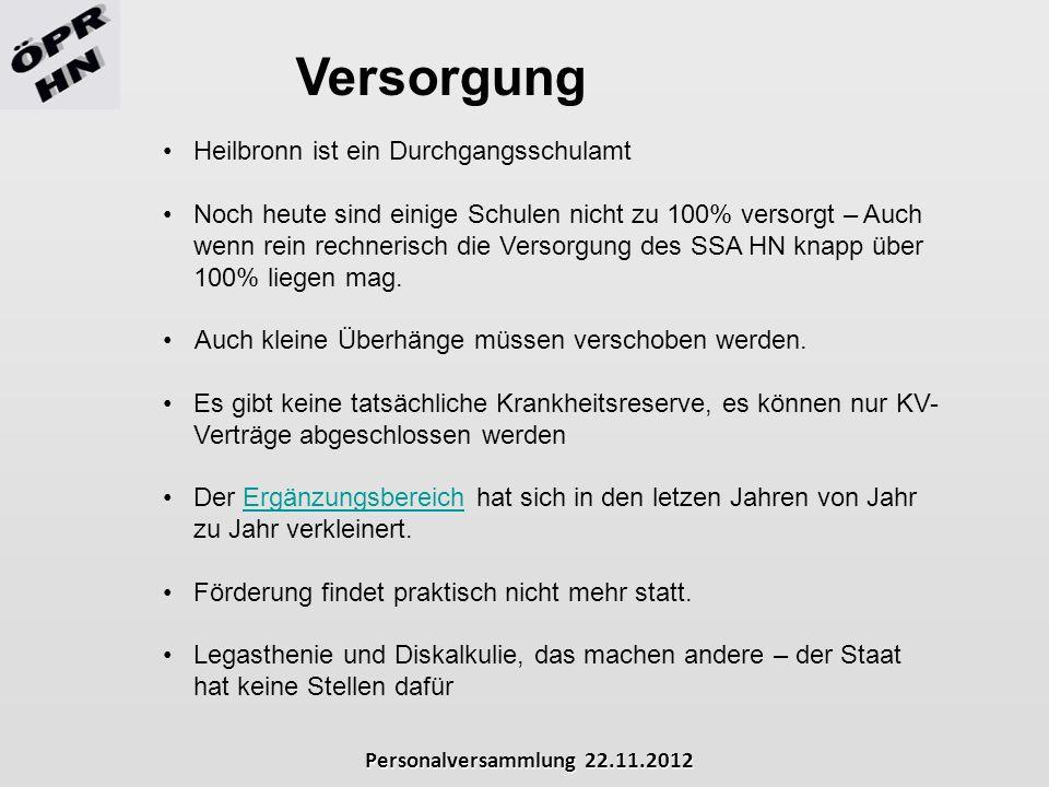 Versorgung Heilbronn ist ein Durchgangsschulamt