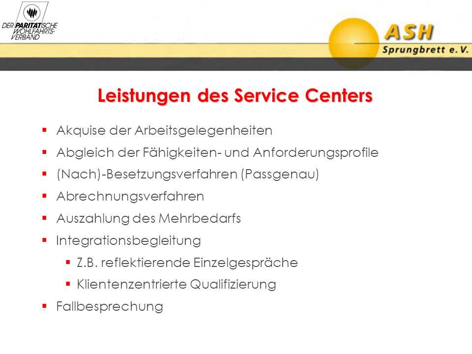 Leistungen des Service Centers