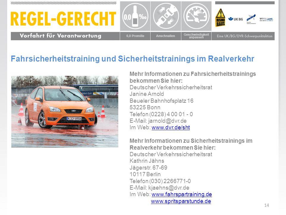 Fahrsicherheitstraining und Sicherheitstrainings im Realverkehr