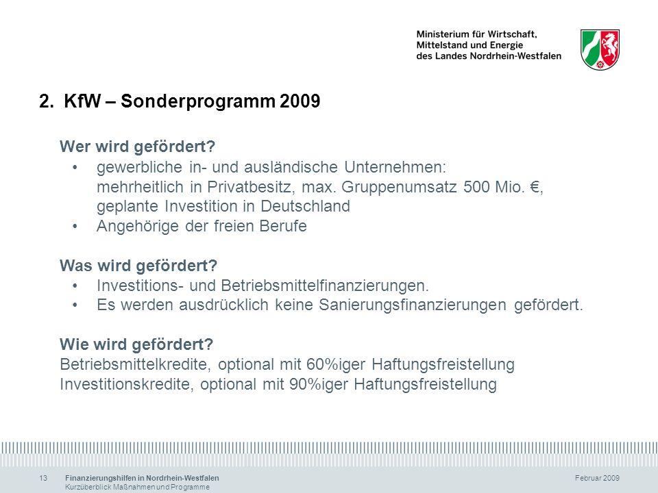 KfW – Sonderprogramm 2009 Wer wird gefördert